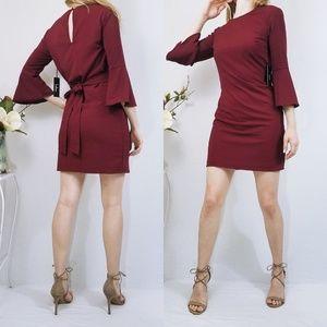 Wine Red Flounce Sleeve Mini Bodycon Lulus Dress